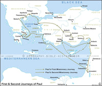 Acts First and Second Journeys of Paul - Basic Map (Hi-Res. Download) 1-Year License