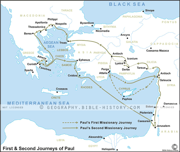 First & Second Journeys of Paul - Basic Map (Hi-Res. Download) 1-Year License