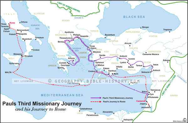 Acts Pauls Third Journey and Rome - Basic Map (Hi-Res. Download) 1-Year License