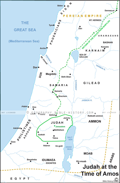 Judah at the Time of Amos - Basic Map (Hi-Res. Download) 1-Year License