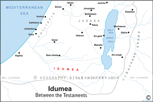 Idumea Intertestamental Period - Basic Map (Hi-Res. Download) 1-Year License