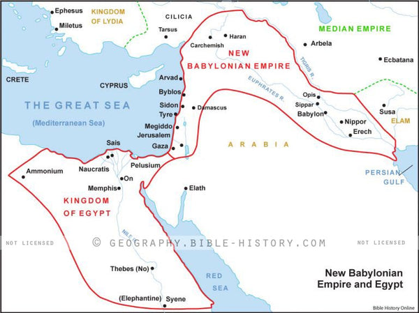 II Kings New Babylonian Empire and Egypt - Basic Map (Hi-Res. Download) 1-Year License