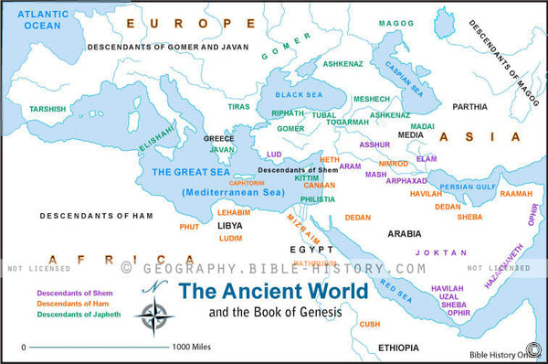 Ancient World of Genesis - Basic Map (Hi-Res. Download) 1-Year License