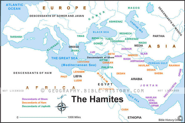 Genesis the Hamites - Basic Map (Hi-Res. Download) 1-Year License