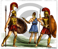 Greek Warriors and Attendant - Bible Illustration (Hi-Res. Download) 1-Year License