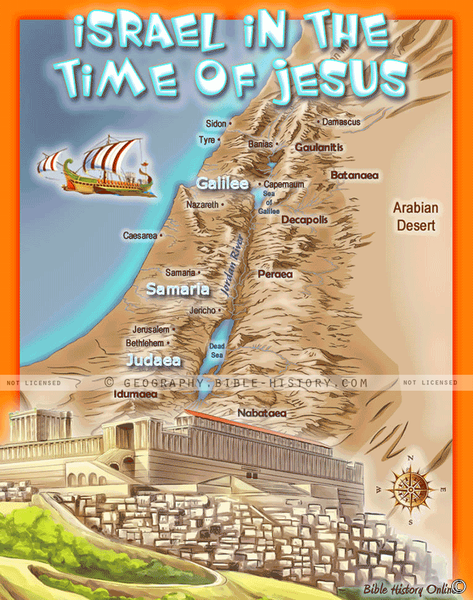 Israel in Jesus' Time - Topo Color Map (Hi-Res. Download) 1-Year License