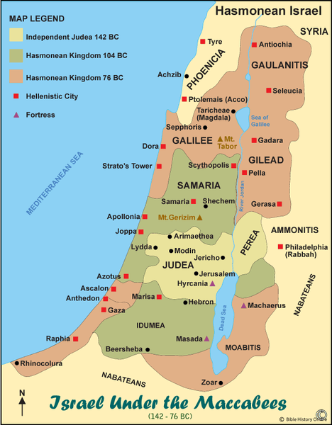 Israel Under the Maccabees - Color Map (Hi-Res. Download) 1-Year License