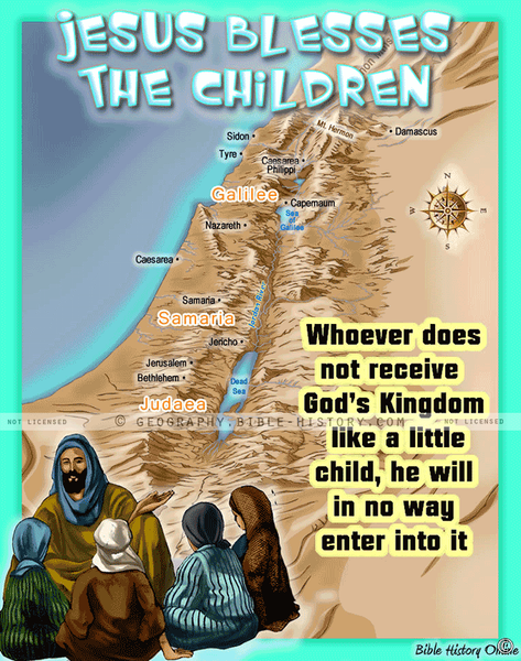 Jesus and the Little Children - Topo Color Map (Hi-Res. Download) 1-Year License