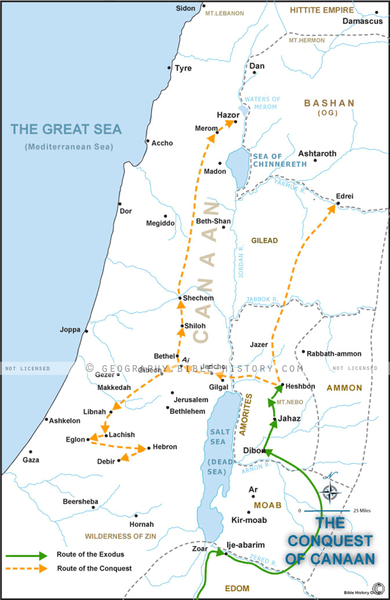Israel's Conquest of Canaan - Basic Map (Hi-Res. Download) 1-Year License