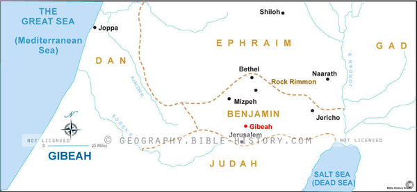 Gibeah in the Old Testament - Basic Map (Hi-Res. Download) 1-Year License