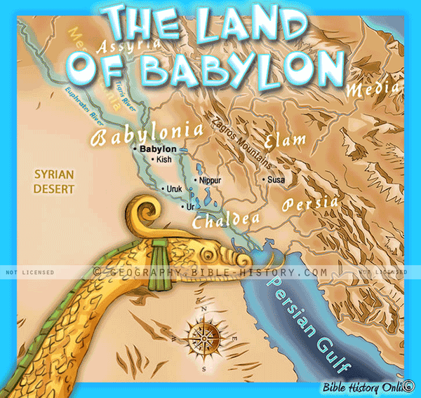 Land of Ancient Babylon - Topo Color Map (Hi-Res. Download) 1-Year License