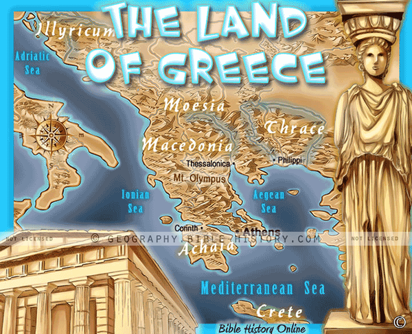 Land of Ancient Greece - Topo Color Map (Hi-Res. Download) 1-Year License