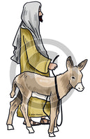 Man Small Donkey - Bible Illustration (Hi-Res. Download) 1-Year License
