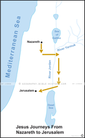 Jesus Journeys From Nazareth to Jerusalem - Basic Map (Hi-Res. Download) 1-Year License
