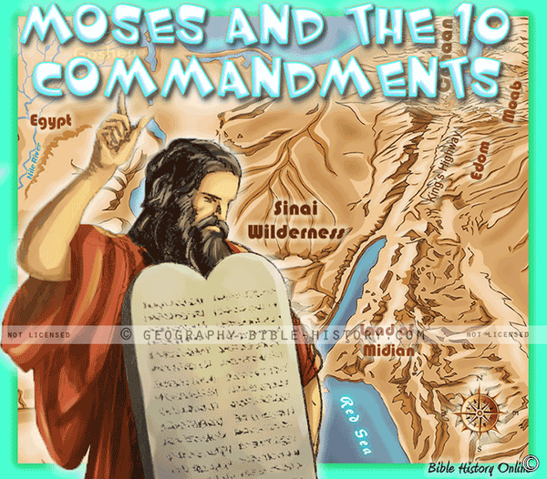 Moses and the Ten Commandments Topo Color Map (Hi-Res. Download) 1-Year License