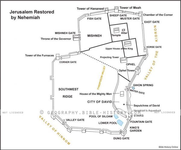 Nehemiah Jerusalem Rebuilt - Basic Map (Hi-Res. Download) 1-Year License