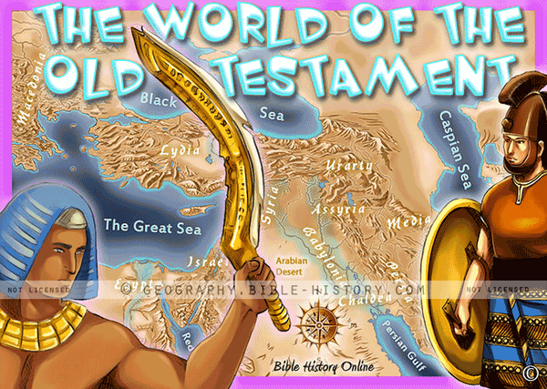 Old Testament World - Topo Color Map (Hi-Res. Download) 1-Year License
