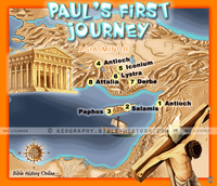 Paul's First Missionary Journey - Topo Color Map (Hi-Res. Download) 1-Year License