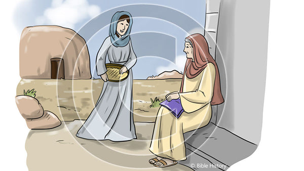 Ruth and Naomi - Bible Illustration (Hi-Res. Download) 1-Year License