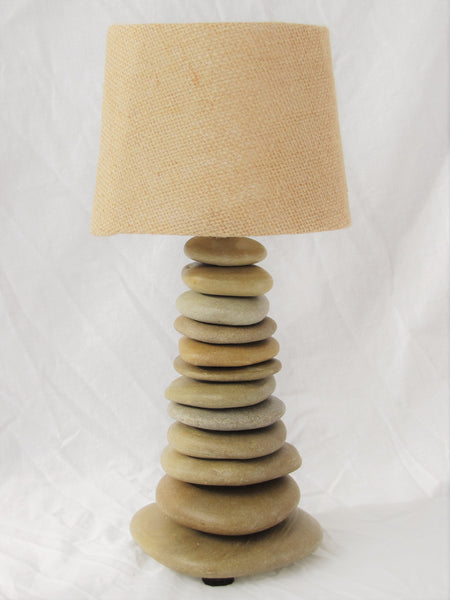 "Small Skipping Stone Rock Lamp (12"" tall) with Lamp Burlap Shade"