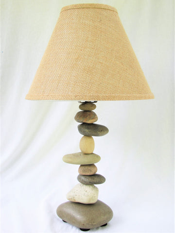 "Rock Lamp (Medium - 21"" Tall) with Offset Stones, Stacked Stone Lamp"