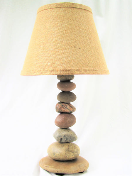 "Rock Lamp (Medium - 18"" Tall), Stacked Stone Lamp"