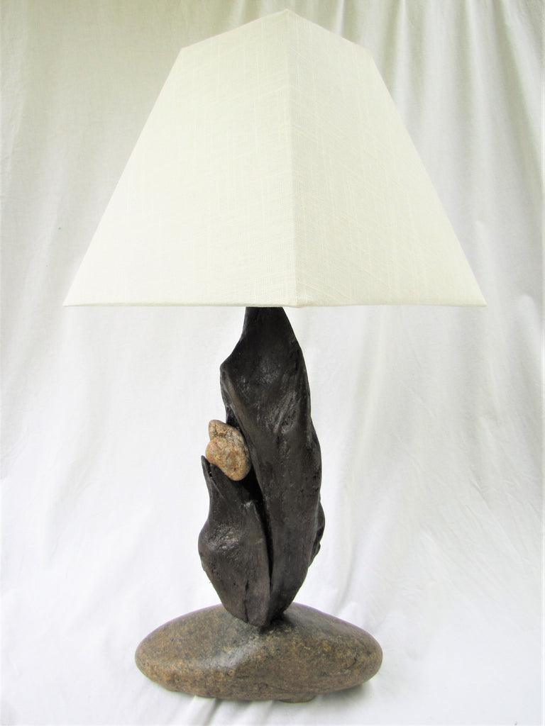 "Driftwood Lamp (24"" tall) with Large Stone Base and Driftwood Body"
