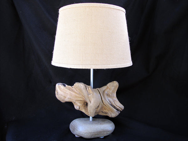 "Driftwood Lamp (25"" tall) with Large Stone Base and Driftwood Body"