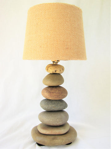 "Small Rock Lamp (12"" tall) with Lamp Shade"