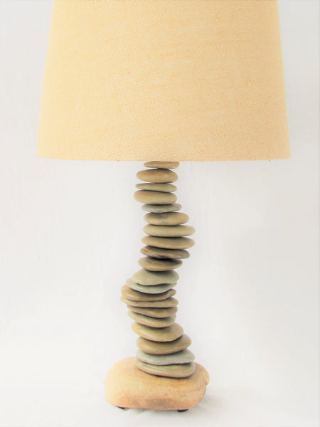 Skipping Stone Rock Lamp in Helix Patern, Flat Stone Lamp