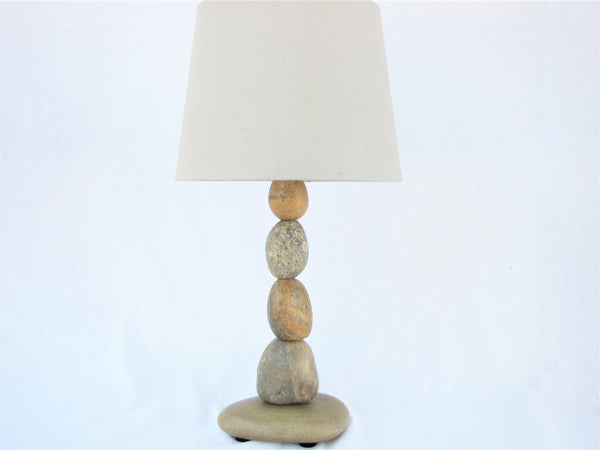 Rock Lamp (medium) with Stones Stacked on Ends