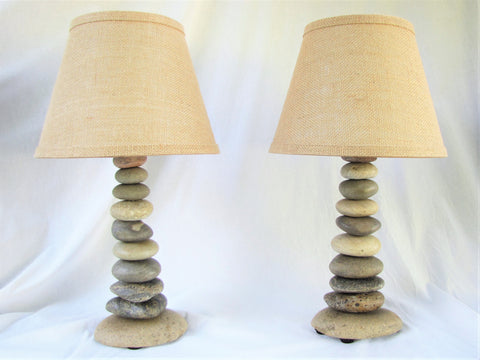 Two (2) Rock Lamps, Matching Lamps, Stone Lamp Set