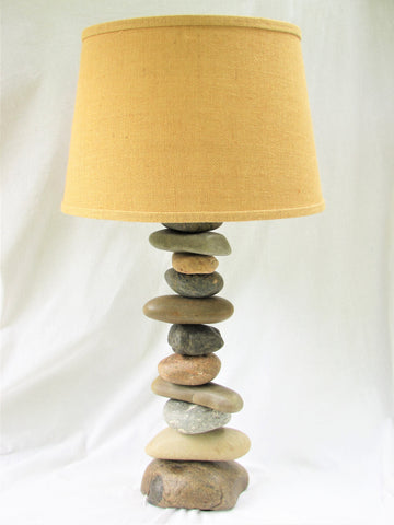 "Rock Lamp (27"" tall), Stacked Stone Lamp, Cairn Lamp"