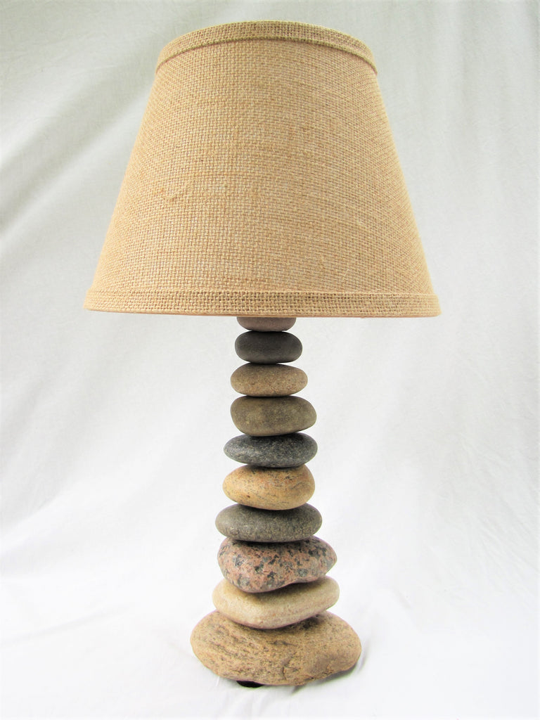 "Rock Lamp (Medium - 19"" Tall), Stacked Stone Lamp"