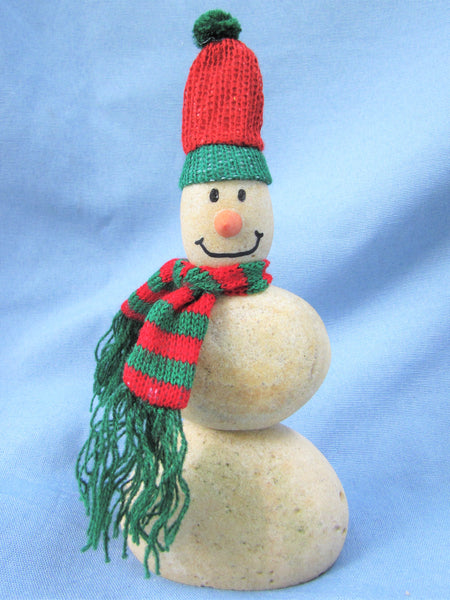 Snowman made of Stacked Stone - With Matching Hat and Scarf