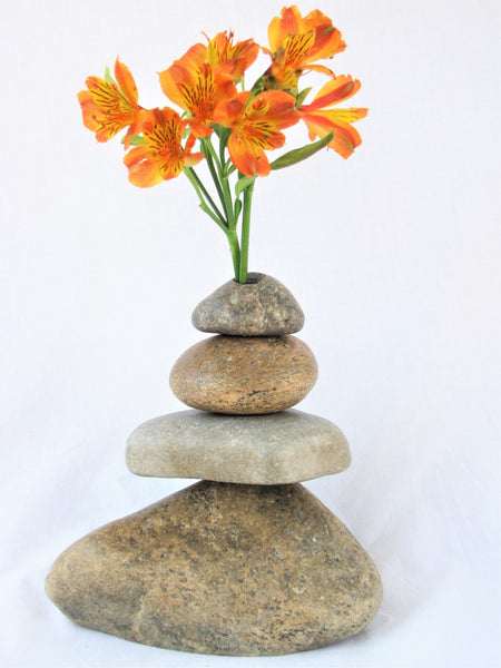 Vase made with Stacked Stone, Stone Cairn Vase