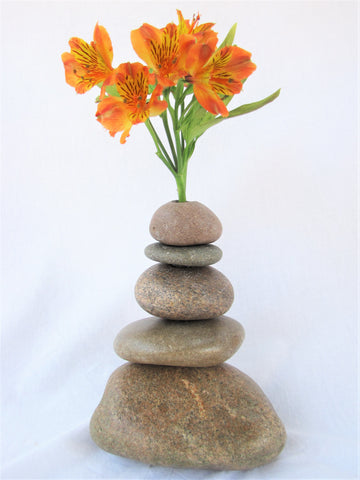 Rock Vase made with Stacked Stone, Stone Cairn Vase