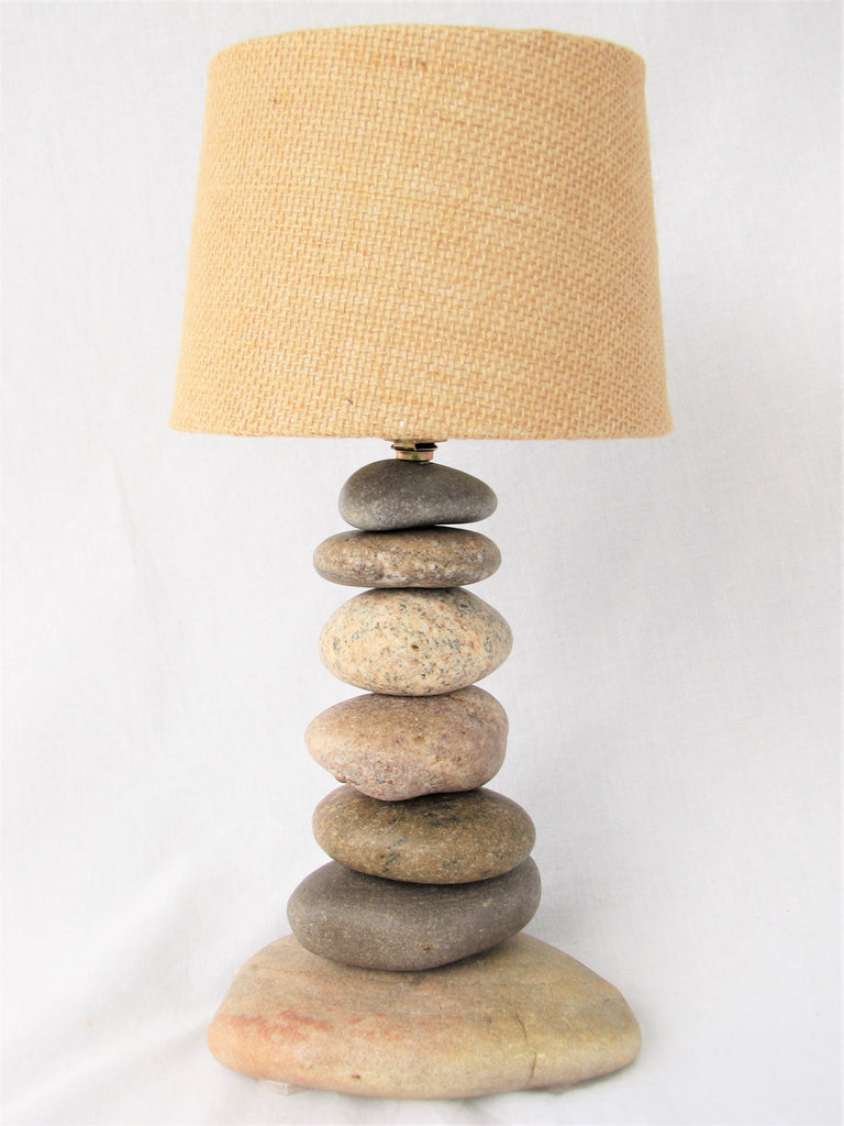 "Small Rock Lamp (12"" tall) with Lamp Burlap Shade"