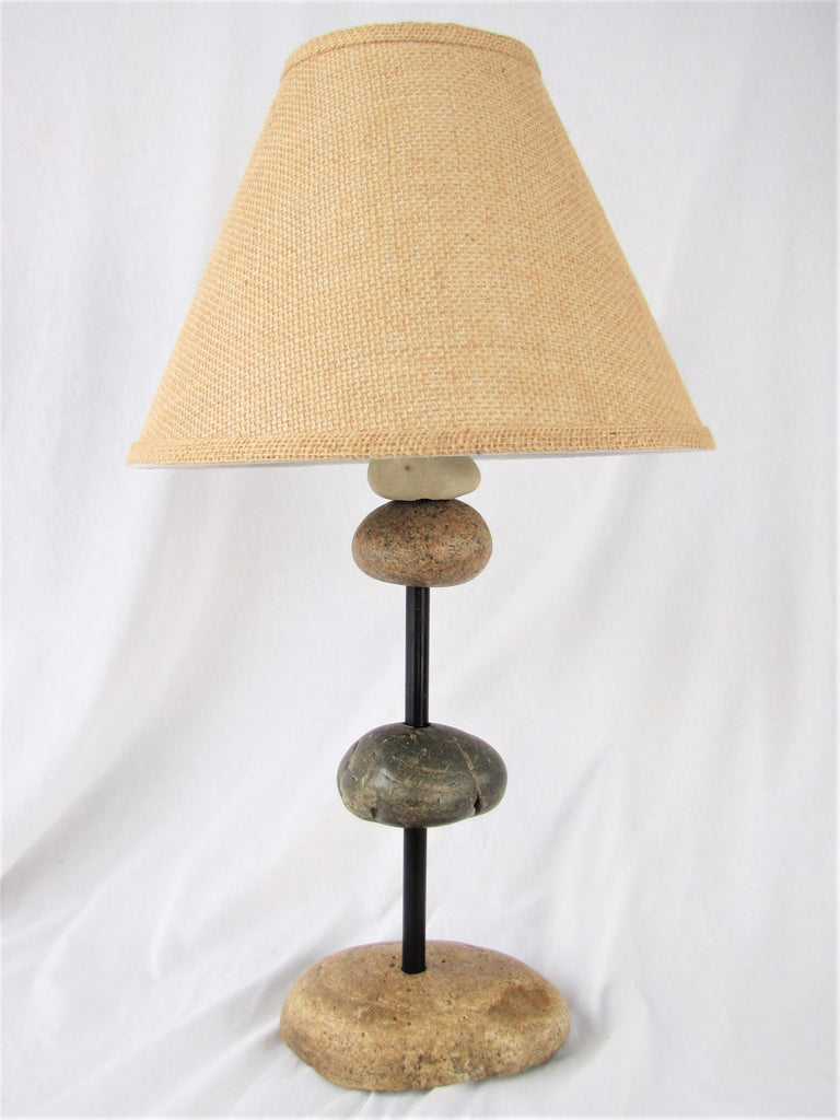 "Rock Lamp on Black Steel Pole (21"" tall), Stacked Stone Cairn Lamp"
