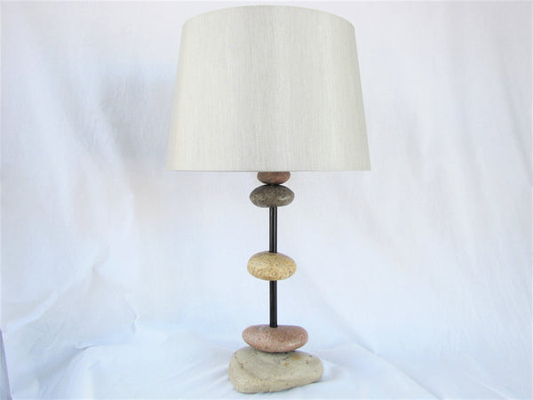 "Rock Lamp on Black Steel Pole (24"" tall), Stacked Stone Cairn Lamp"