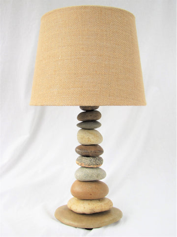 "Rock Lamp (Medium - 20"" Tall), Stacked Stone Lamp"