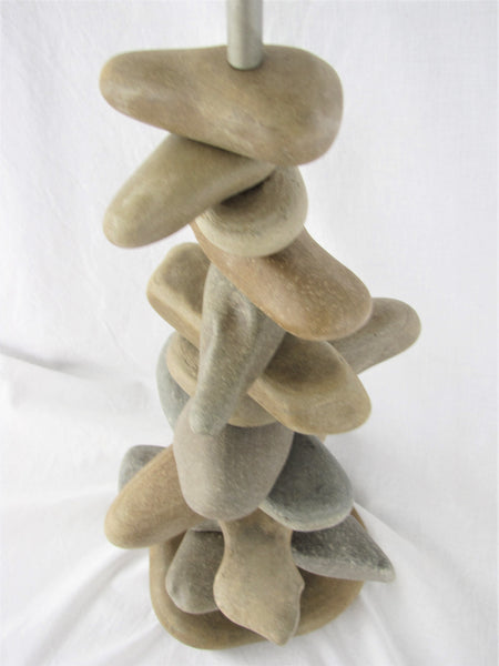"Rock Lamp (27"" Tall) made with Long Stones in Random Pattern, Stacked Stone Cairn Lamp"