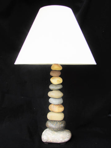 "Rock Lamp (Large - 25"" Tall) with Fossil Base, Stacked Stone Lamp"