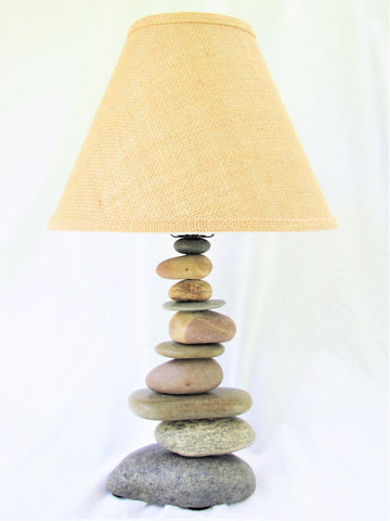 Rock Lamp (medium) with Offset Stones, Stacked Stone Lamp