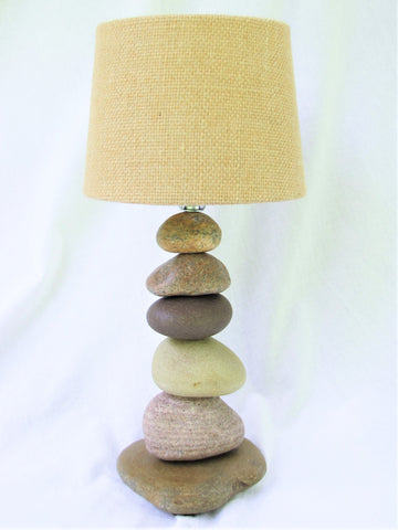"Small Rock Lamp (13"" tall) with Lamp Burlap Shade"