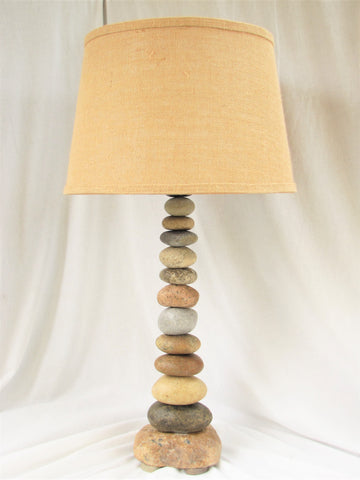 "Rock Lamp (28"" tall), Stacked Stone Lamp, Cairn Lamp"
