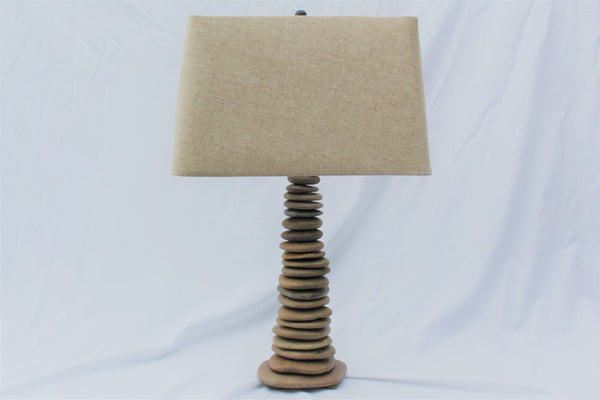 "Skipping Stone Rock Lamp (large - 25"" tall), Stacked Stone Flat Stone Lamp"