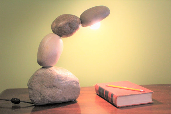 desk lamp, rock lamp