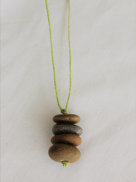 Stone Necklace with Hemp Cord, Stacked Stone Necklace