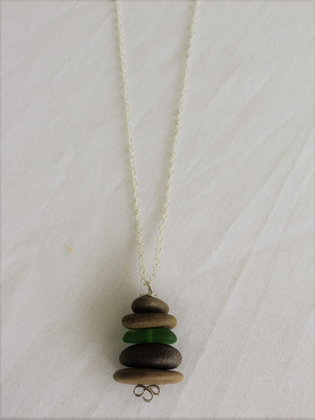 Sea Stone Necklace with Sea Glass, Rock Necklace